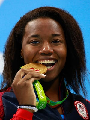 Gold medalist Simone Manuel of the United States.