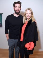 John Krasinski, left, and Emily Blunt in New York last month.