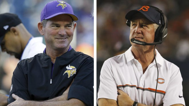LEFT: Minnesota Vikings head coach Mike Zimmer smiles before an Aug. 18 preseason game in Seattle. RIGHT: Chicago Bears head coach John Fox watches from the sideline during the second half of the Sept. 18 game against the Philadelphia Eagles in Chicago. Nothing like a matchup against a last-place team to regroup from a loss, so consider this good timing for the Vikings.