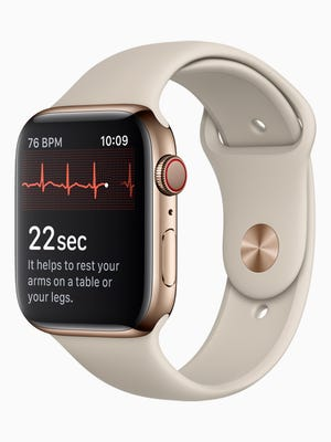 The ECG feature on the Apple Watch Series 4.