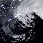 A combination of the day-night band and high resolution infrared imagery from the NASA-NOAA's Suomi NPP satellite shows the blizzard near peak intensity as it moves over New York through the Boston Metropolitan area at 1:45 a.m. EST on Jan. 27, 2015.