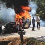 The accident happened Sunday in Chatham County, North Carolina. Police said one of the drivers crossed the center line and hit a car with two passengers. (ABC NEWS)