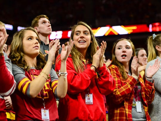 Iowa State Cyclones fans celebrate during the second