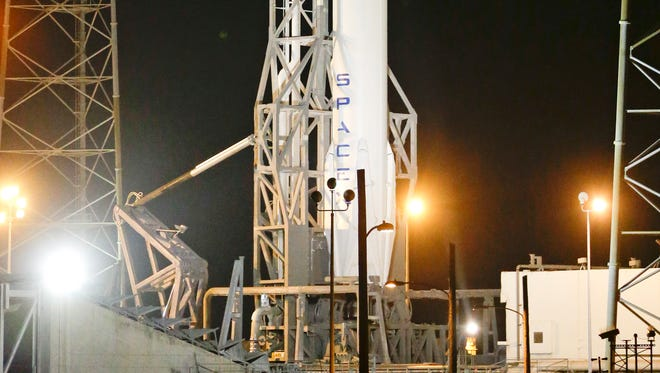 The Falcon 9 SpaceX rocket stands ready for launch on complex 40 at the Cape Canaveral Air Force Station in Cape Canaveral, Fla., on Jan. 9, 2015.