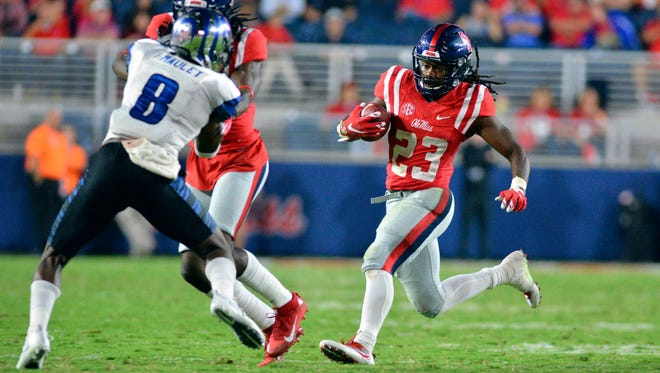 Ole Miss running back Eugene Brazley (23) rushed for a career-high 124 yards against Georgia.
