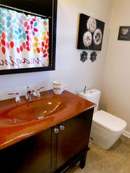 A bathroom at the home of Wanda and Darnell Thompson