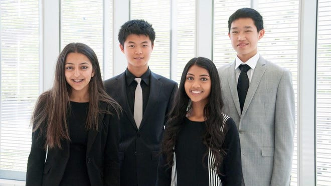 The VivaFlow team is (from left) Sanya Verma of the International Academy in Bloomfield Township; Kai Lin of Mission High School in Fremont, Calif.; Mihika Nadig of Torrey Pines High School in San Diego; and Tommy Yang of Menlo High School in Atherton, Calif.