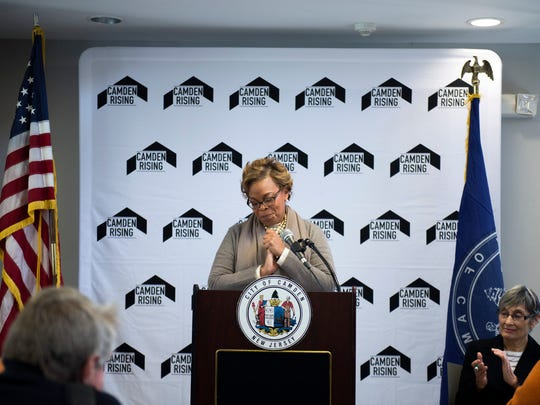Mayor Dana Redd speaks as a major federal investment is announced in the cityÕs efforts to transform and revitalize the Mt. Ephraim South neighborhood Tuesday, Dec. 13 in Camden.