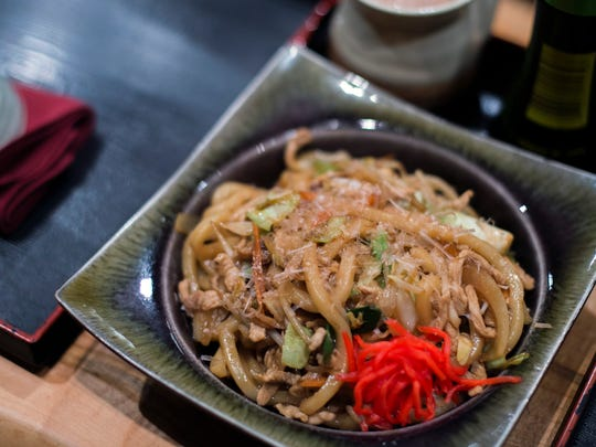 A Yaki-udon dish featuring stir fried noodles with pork, cabbage and onions from Fuji in Haddonfield.