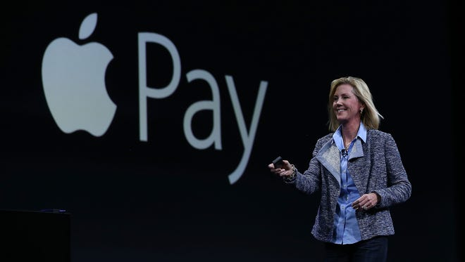 Jennifer Bailey, Apple vice president of worldwide online stores, speaks about Apple Pay during Apple WWDC on June 8, 2015, in San Francisco.