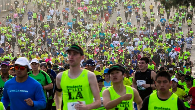 The 28th Asics L.A. Marathon gets under way on March 17, 2013.