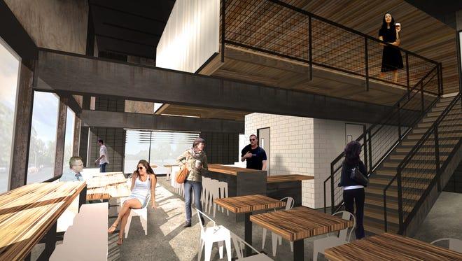 An interior rendering of Press Coffee Roastery in Phoenix.