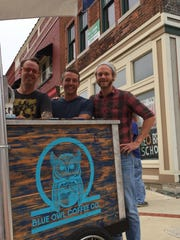 From left to right, Nick Berry, Rich Whitman and Chay Menke, of Blue Owl Coffee Co., plan to move into 1149 S. Washington Ave. early next year.
