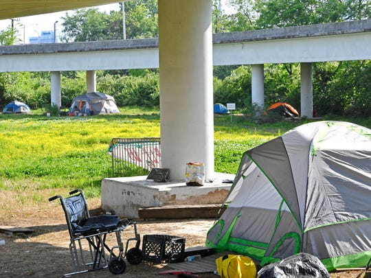 Metro is planning to close one of Nashville's largest homeless camps, called Ellington Camp, in East Nashville. Many of the residents have no where else to go. Wednesday May 2, 2018, in Nashville, Tenn.