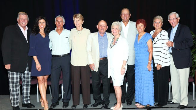 (left to right): Tommy John, Nicole Castrale, Jose Higueras, Tory Fretz, Bob Lurie, Connie Lurie, Don Ohlmeyer, Donna Caponi-Byrnes, Chris Voelz and Frank Beard.