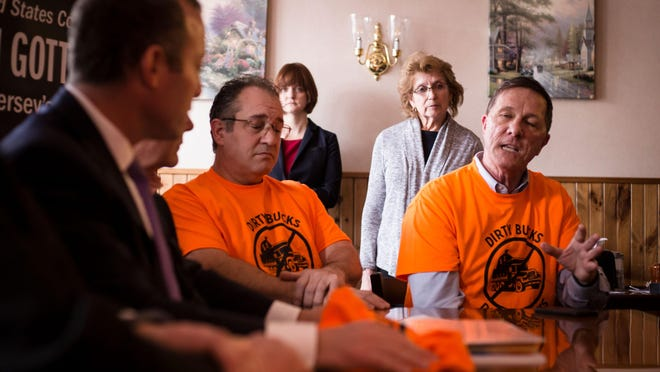 Andrew Pitsker, PAID (People Against Illegal Dumping) public relations chair, right, speaks to U.S. Rep. Josh Gottheimer, D-5th Dist., during a meeting of the group and local and state representatives in Vernon Friday, February 22, 2019. Pitsker was appointed to an open seat on the Vernon Township Council Monday.