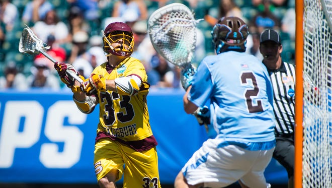 Salisbury University attack Carson Kalama (33) takes a shot against Tufts University in the NCAA Divison 3 Finals on Sunday, May 29 at Lincoln Financial Field in Philadelphia, PA.