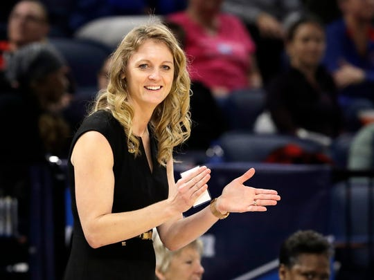 Missouri State head coach Kellie Harper smiles as he directs her team during the second half of a regional semifinal game against the Stanford in the NCAA women's college basketball tournament, Saturday, March 30, 2019, in Chicago. (AP Photo/Nam Y. Huh)