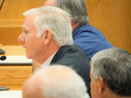 Rockport Mayor C.J. Wax speaks during a Texas Land & Resource Management Committee hearing at Corpus Christi City Hall on Wednesday, Dec. 20.