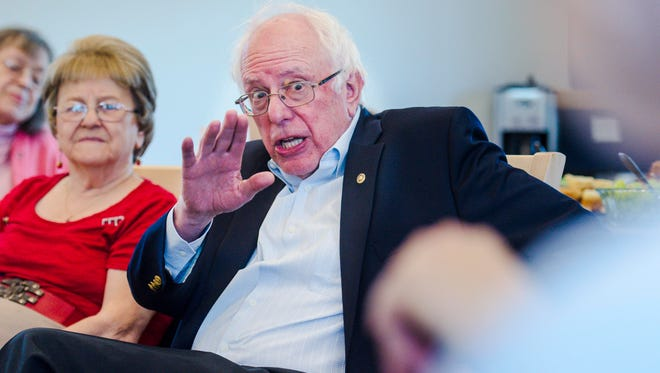 U. S. Senator Bernie Sanders, I-Vermont, speaks with residents during a visit to the Elm Place senior housing facility in Milton on Tuesday, April 11, 2017.