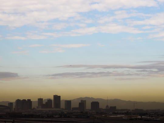 Brown haze is seen on downtown Phoenix skyline. Annually,