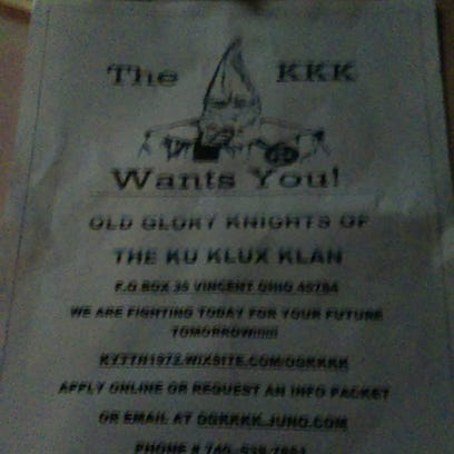 A Ku Klux Klan leaflet handed out Wednesday in Winchester.
