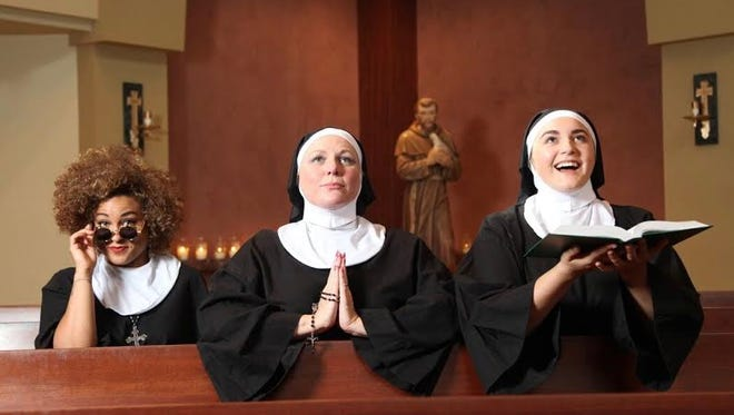 """Meggan Utech, left, Martha Wilkinson and Gracie McGraw perform in """"Sister Act"""" at Chaffin's barn."""