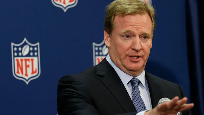 Commissioner Roger Goodell speaks during a news conference at the NFL's  spring meetings in Boston in May.