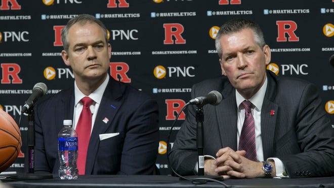 New Rutgers basketball coach Steve Pikiell (left) and athletic director Pat Hobbs at a press conference introducing Pikiell on Tuesday in Piscataway.