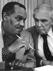 Marc Stepp, vice president UAW National Negotiating Committee with UAW President Doug Fraser in 1980.