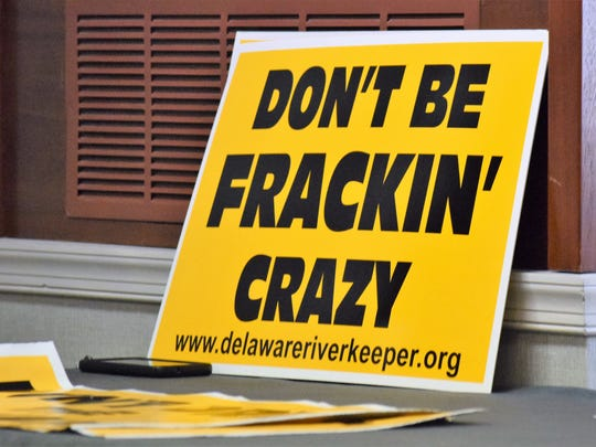 "Environmentalists held a press conference opposing fracking activities in the Delaware River Basin, shouting, ""Ban Fracking Now!"" in a Philadelphia hotel hosting the hearing."