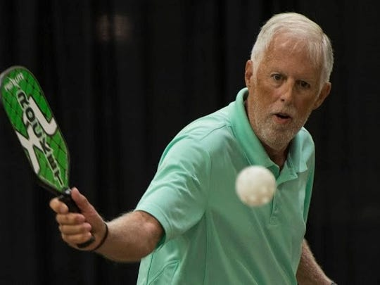 Ed Beyster from Texas competes in pickleball at the