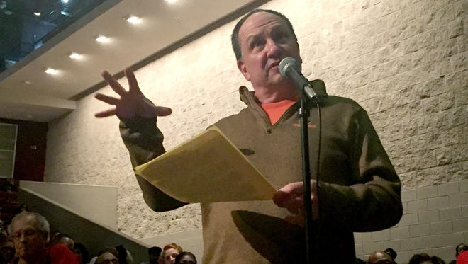 Jim Egged, 56, of Dearborn Heights, spoke at a public comment meeting at River Rouge High School Auditorium in River Rouge on Wednesday, Jan. 6, 2016.