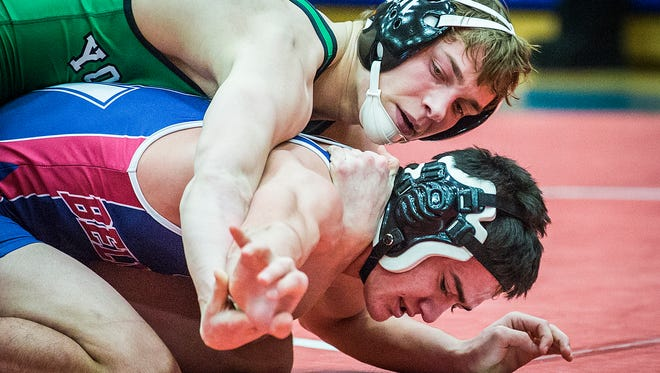 Yorktown's Brad Laughlin competes in the wrestling regionals at Jay County High School Saturday, Feb 6. 2016.
