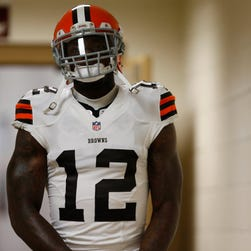 Cleveland Browns wide receiver Josh Gordon (12) walks out of the locker room prior to the Browns' game against the Washington Redskins at FedEx Field.
