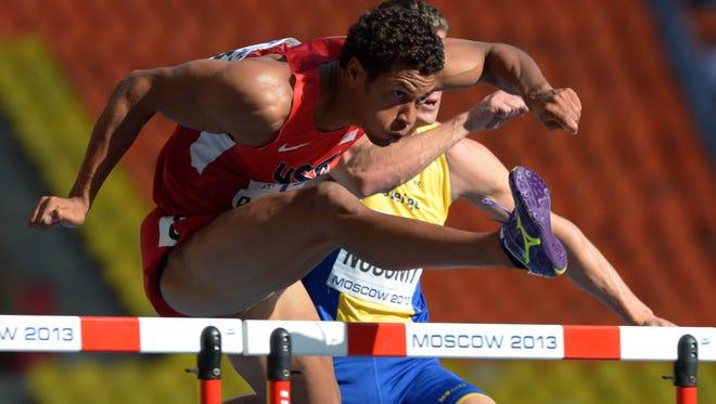 American Ryan Wilson wins a 110-meter hurdle heat in the IAAF World Championships at Luzhniki Stadium in Moscow on Sunday.
