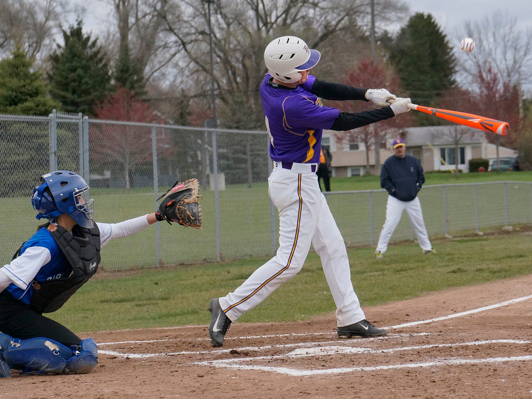 Taking a rip at a pitch Thursday is PCA's Will Crecelius. He and his Eagles teammates romped to a 15-0 win.