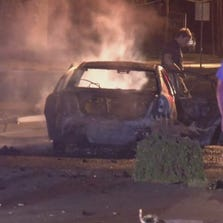 Three suspects were taken into custody after a chase and fiery crash on Westheimer just west of the Galleria.