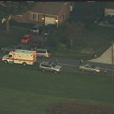 Sky 9 on the scene of a pedestrian hit in the 23300 blk of Woodfield Rd in Gaithersburg