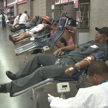 """Many people lined up to donate at the 5th annual """"Rise Up and Give Blood"""" drive hosted by the Atlanta Falcons at the Georgia Dome on Monday."""