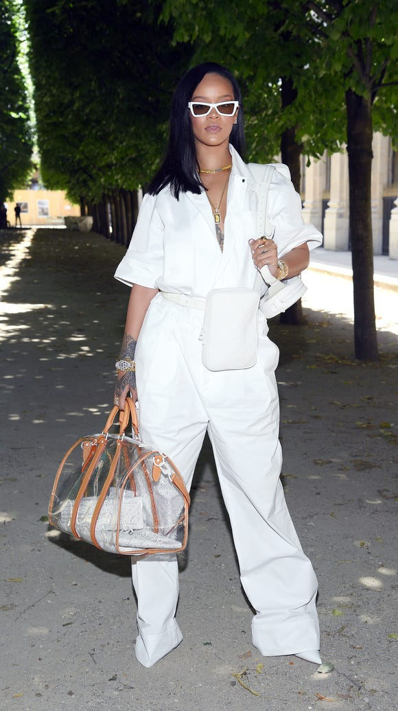 Rihanna slayed in all white, shades and a see-through