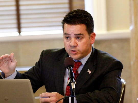House Medicaid Committee chairman Chris Brown, R-Nettleton, speaks during a committee hearing Tuesday at the Capitol in Jackson. Committee members, lobbyists, and human service organization representatives attended the hearing and heard from a number of medical professionals who expressed their views as to possible changes in Medicaid legislation by lawmakers.