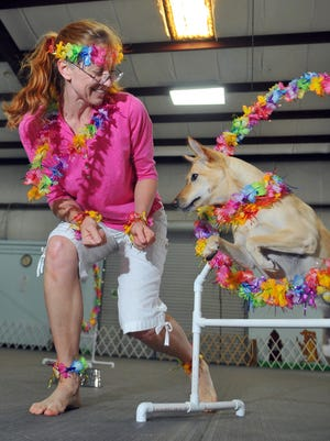 "Chris Rakauskas of Malabar competes in Freestyle dancing with her dog, Dixie. Chris is practicing her freestyle routine to ""Mele Kalikimaka"" at the Indian River Dog Training Club in Palm Bay."