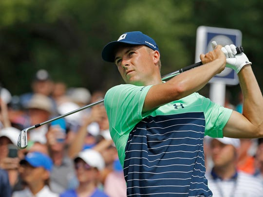 Jordan Spieth watches his tee shot on the sixth hole during the first round of the PGA Championship golf tournament at Bellerive Country Club, Thursday, Aug. 9, 2018, in St. Louis. (AP Photo/Charlie Riedel)