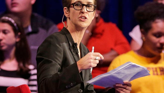 MSNBC's Rachel Maddow speaks during a Democratic presidential candidate forum at Winthrop University in Rock Hill, S.C. on Nov. 6, 2015.