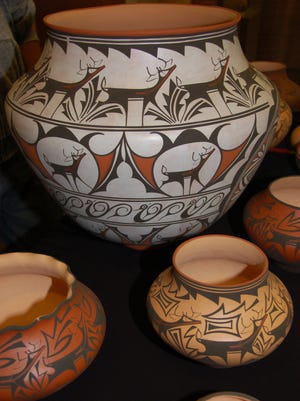 Zuni ollas or water vessels by artists Anderson Peynetsa and Gaylon Westika. Handout art for the annual Zuni Festival of Arts & Culture at the Museum of Northern Arizona.