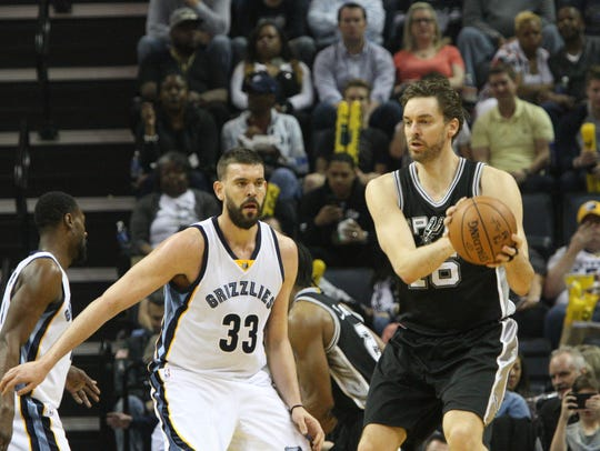 San Antonio Spurs' Pau Gasol (16) plays against his