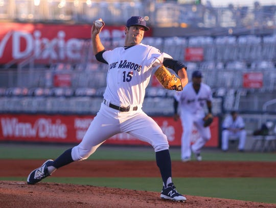 The Blue Wahoos Austin Ross (15), picked up right where