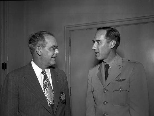 Brig Gen Paul T. Cullen (right) and Malone Piper at the Shreveport Lion's Club, Nov. 16, 1949.