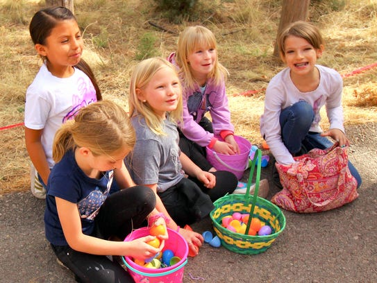 Colorful baskets cradled colorful eggs at Ruidoso's